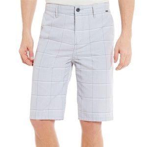 Hurley Wolf Granada Plaid Flat Front Walk Shorts